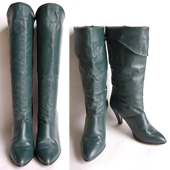 vintage green leather high heel boots or cuff sz 7
