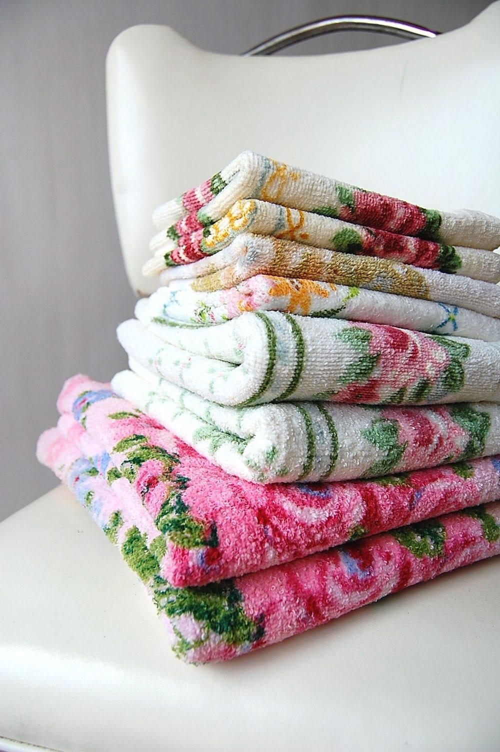 Reserved Vintage Floral Towels Hand Towels And Washcloths