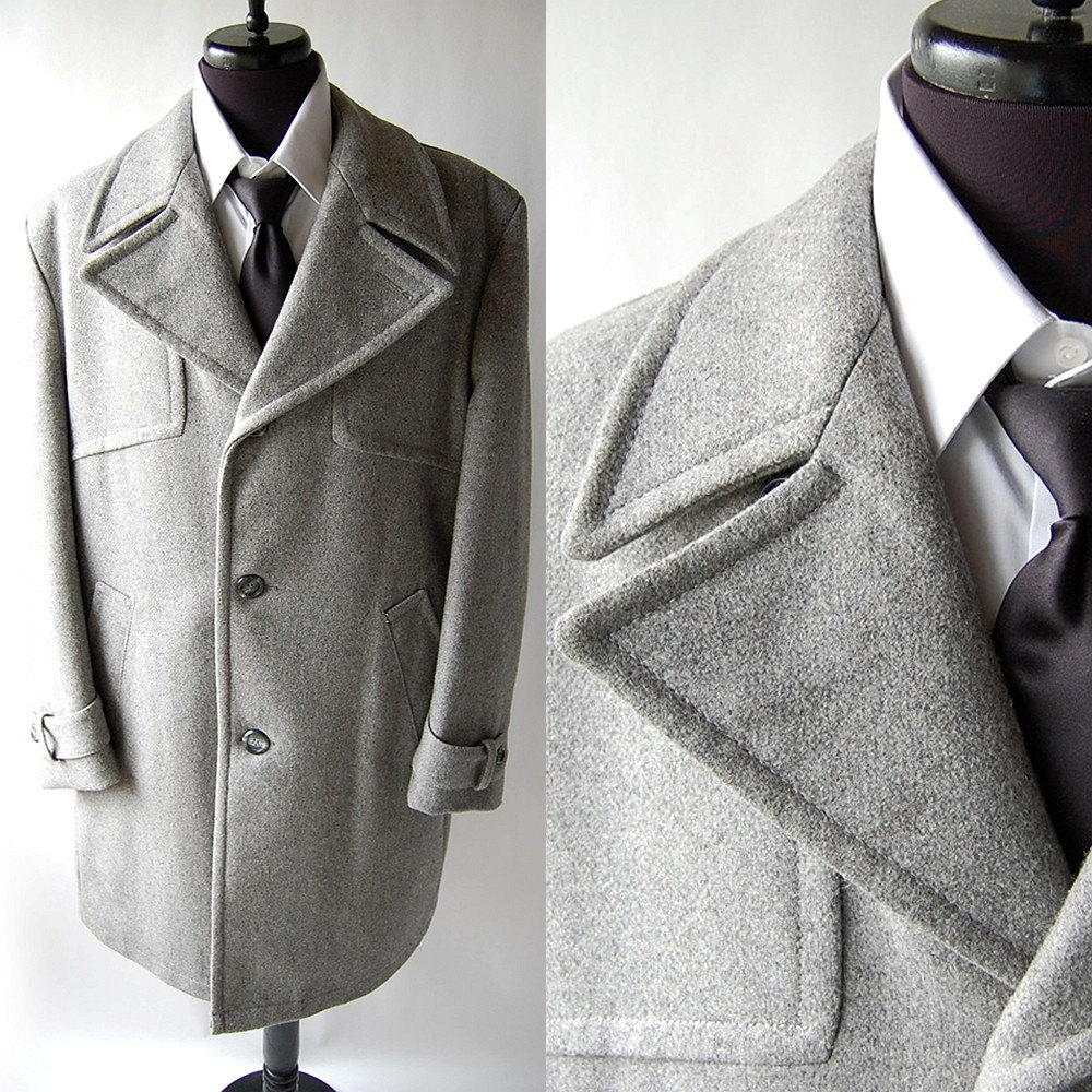 Vintage Mens Grey Wool Car Coat 42
