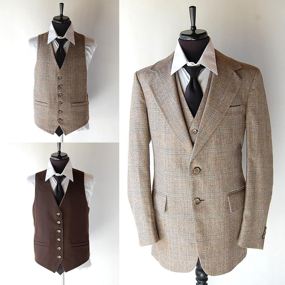 vintage mens 3 wool suit reversible vest brown