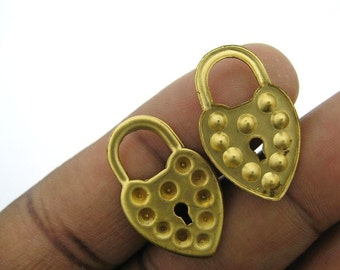 12 Vintage Brass Solid Lock Charms