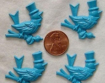 Last Set-5 Vintage Blue Lucite Singing Bird Cabs