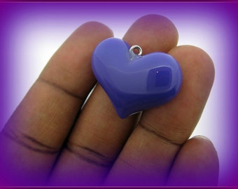 35 PERCENT OFF SALE-Set of 12 Purple 3D Resin Heart Pendants or Charms