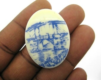 Only 6 in stock-Vintage Delft Blue and White 40x30mm Cameo no 2