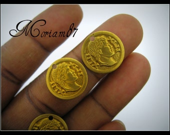 12 Vintage Brass Roman Coin Charms