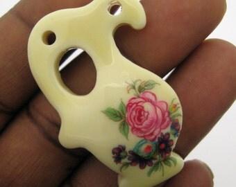 1 Vintage Pink Flower Acrylic Vase Pendant