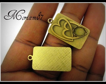 2 Goldplated Vintage Entwined Hearts Pendants with an 8x6mm Setting-Only 6 sets left