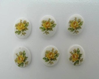 6 8x10 yellow Rose Glass Stones