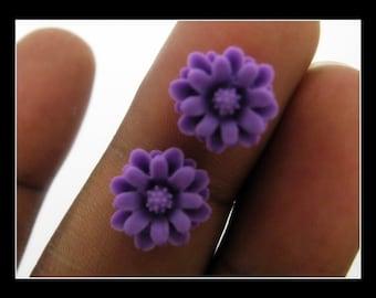 10 12mm Purple Resin Chrysanthemum  Flower Cabochons