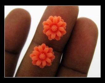 10 12mm Orange Resin Chrysanthemum  Flower Cabochons