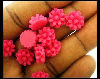 10 12mm Dark Pink Resin Chrysanthemum  Flower Cabochons No 2