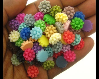 Mix of 64 12mm  Resin Chrysanthemum  Flower Cabochons
