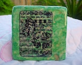 Butterfly Moon face tumbled marble tile coaster