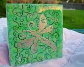 Ceramic tile embossed dragonfly coaster