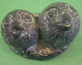 Vintage Feeding Owl and Owlette Wolf Original Handmade Black Soapstone Sculpture