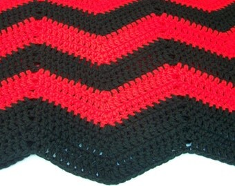 Red and Black Ripple Afghan
