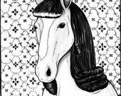 Brunette Horse Print 8.5 x 11