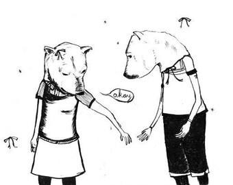 Polar Bear Love print by Nicole J. Georges