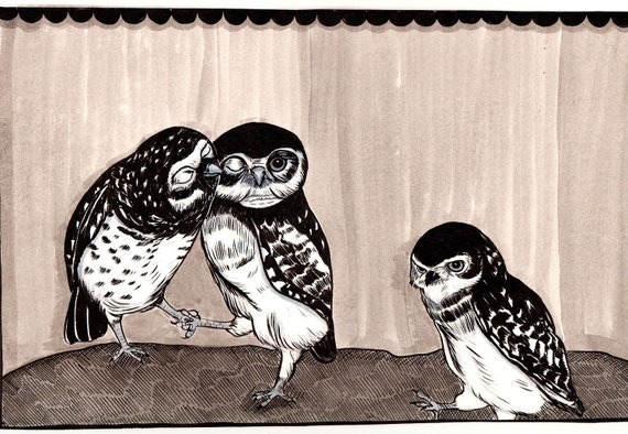 small Owls print by Nicole J. Georges