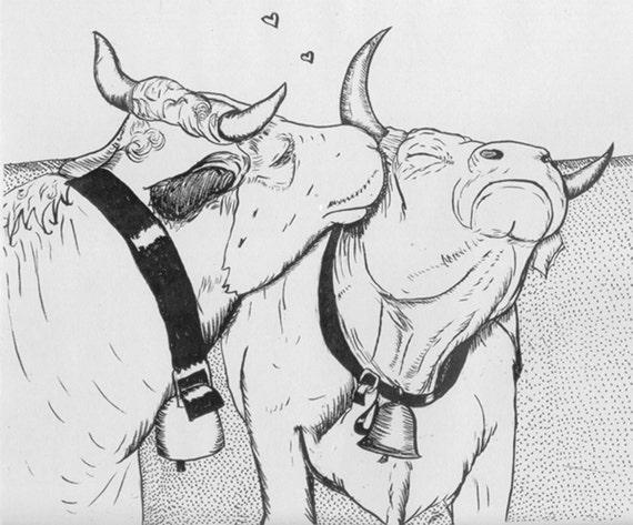 SALE  Kissing Cows Print by Nicole J. Georges
