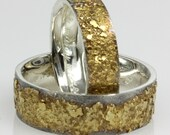 Set of two Golden Pebble Rings