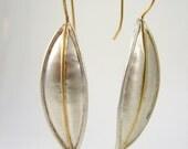 argentium silver 18k gold leaf earrings