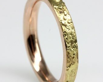Red Gold, Yellow Gold Textured Wedding Band 3mm wide