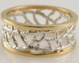 fan coral wedding band in sterling silver and 14k gold