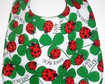 Ladybugs and Four Leaf Clovers Baby Bib