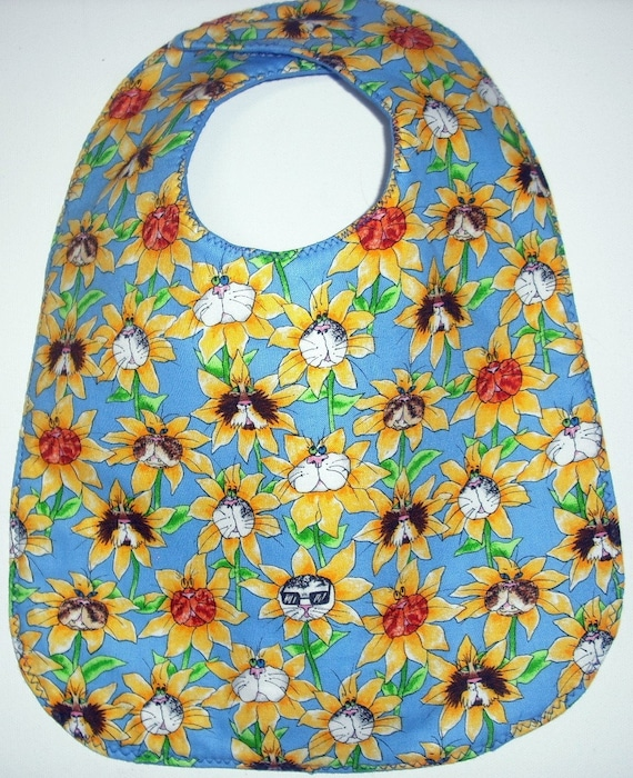 Whimsical Cat Faces in Flowers Baby Bib