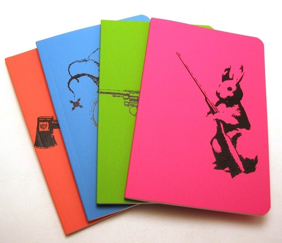 Dangerous Animal notebooks - set of 4 - ecofriendly - lined - 3.5 x 5.5 inches - moleskine-size