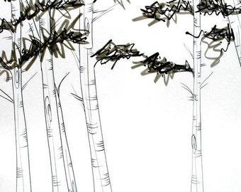 Aspen 14X17,tree,art,original,aspen,forest,nature,trees,Inks,art,minimal,decor,Zen,