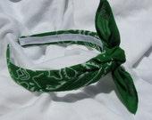 Bandana Knot Headband Hairband Headwrap Bandanna (KELLY GREEN)
