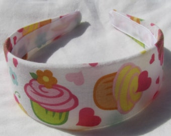 Cutie Cupcake WIDE Headband Happy Birthday Headband