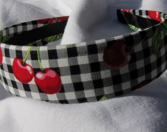 Gingham Cherry Print Headband