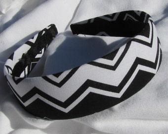 Black And White Chevron Striped Headband