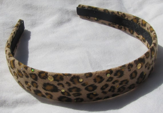 Suede Sparkle Leopard Headband LAST ONE