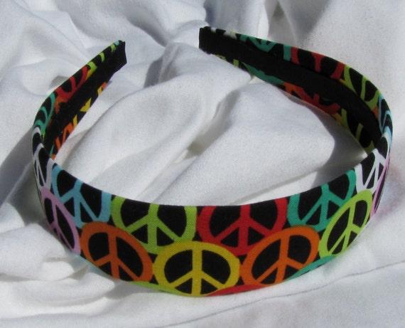Bright Peace Sign Headband Black