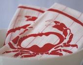 SALE - Crab - set of 2 hand printed tea towels