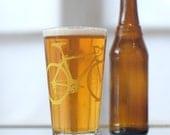 Vital Bicycle, screen printed glassware, yellow,  set of 4 pint glasses