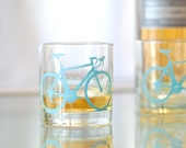 4 bicycle rocks or pint glasses, turquoise bike