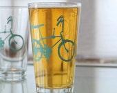 Wheelie Bike, screen printed glassware, turquoise,  set of 4 pint glasses