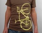 SALE - organic cotton bicycle shirt - chocolate and lemon, Last medium