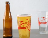 4 tandem bike pint glasses, red bicycle
