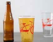 4 tandem bicycle pint glasses, red bike