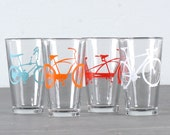 Mixed-up super bike party  - screen printed bicycle pint glasses, set of 4