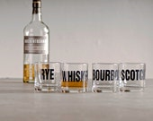 Whiskey, bourbon, scotch and rye - hand printed rocks glasses