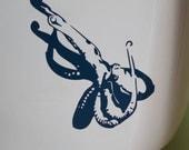 Octopus - vinyl toilet graphic, dark blue