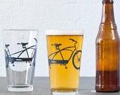 4 hand printed bike pint glasses, charcoal tandem bicycle