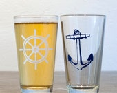 Wheel and Anchor - screen printed pint glasses, white and blue